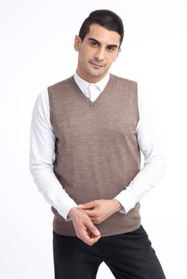 Erkek Giyim - VİZON XL Beden V Yaka Yünlü Süveter