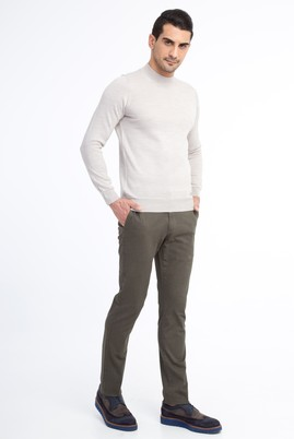 Erkek Giyim - KOYU YESİL 54 Beden Slim Fit Desenli Spor Pantolon
