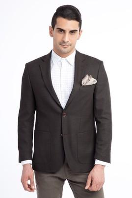 Erkek Giyim - KOYU KAHVE 54 Beden Regular Fit Kuşgözü Ceket