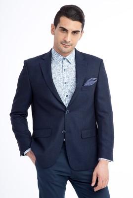 Erkek Giyim - Lacivert 50 Beden Desenli Ceket