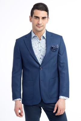Erkek Giyim - KOYU MAVİ 56 Beden Regular Fit Kuşgözü Ceket
