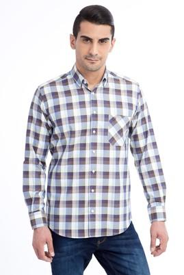 Erkek Giyim - KOYU YESİL L Beden Uzun Kol Desenli Gömlek