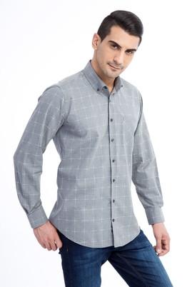 Erkek Giyim - Açık Gri XL Beden Uzun Kol Ekose Gömlek