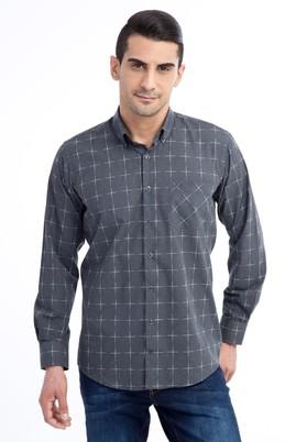 Erkek Giyim - Orta füme XL Beden Uzun Kol Ekose Gömlek