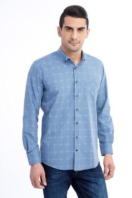 Erkek Giyim - Mavi M Beden Uzun Kol Ekose Gömlek