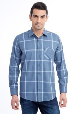 Erkek Giyim - Mavi XL Beden Uzun Kol Ekose Gömlek