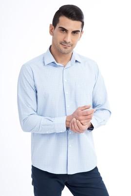 Erkek Giyim - Açık Mavi XL Beden Uzun Kol Ekose Gömlek