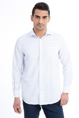 Erkek Giyim - Beyaz L Beden Uzun Kol Ekose Gömlek