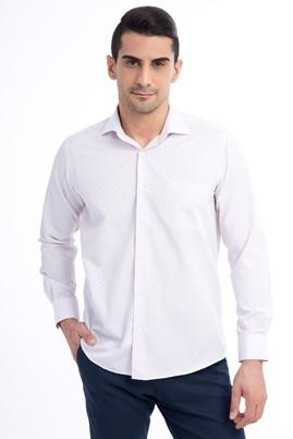 Erkek Giyim - Kırmızı 4X Beden Uzun Kol Ekose Gömlek