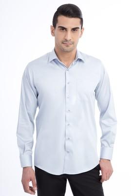 Erkek Giyim - Açık Gri M Beden Uzun Kol Saten Gömlek