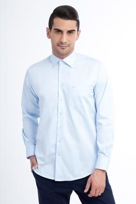 Erkek Giyim - Açık Mavi M Beden Uzun Kol Saten Gömlek