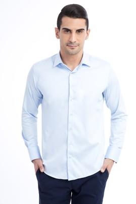 Erkek Giyim - Açık Mavi XL Beden Uzun Kol Saten Slim Fit Gömlek