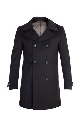 Erkek Giyim - HAKİ 46 Beden Kruvaze Kaşe Yün Kaban