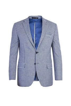 Erkek Giyim - Mavi 48 Beden Ekose Ceket