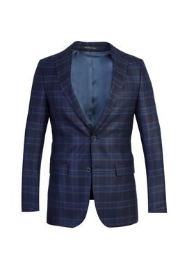 Erkek Giyim - Lacivert 54 Beden Ekose Ceket