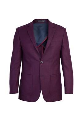 Erkek Giyim - Kırmızı 54 Beden Yünlü Desenli Spor Ceket