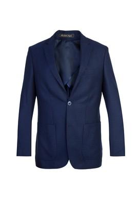Erkek Giyim - Lacivert 50 Beden Yünlü Desenli Spor Ceket