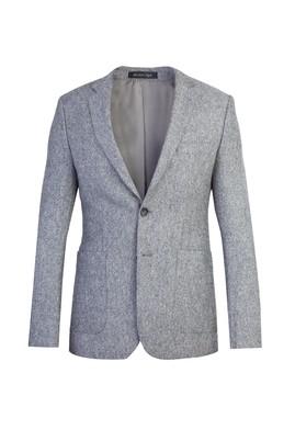 Erkek Giyim - Açık Gri 50 Beden Slim Fit Kuşgözü Ceket