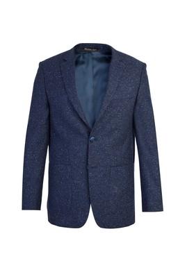 Erkek Giyim - Lacivert 48 Beden Regular Fit Yünlü Kuşgözü Ceket