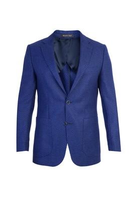 Erkek Giyim - Mor 46 Beden Yünlü Kuşgözü Ceket