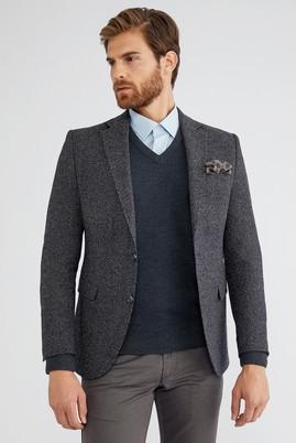 Erkek Giyim - Füme Gri 48 Beden Slim Fit Desenli Ceket