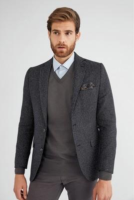 Erkek Giyim - Siyah 58 Beden Desenli Ceket