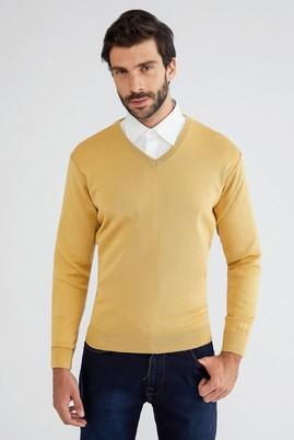 Erkek Giyim - Sarı M Beden V Yaka Regular Fit Triko Kazak