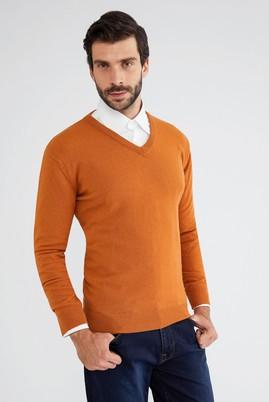 Erkek Giyim - Turuncu XL Beden V Yaka Regular Fit Triko Kazak