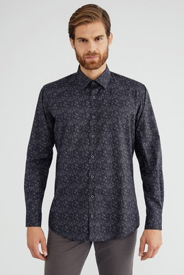 Erkek Giyim - Lacivert L Beden Uzun Kol Desenli Spor Gömlek