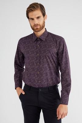 Erkek Giyim - Bordo L Beden Uzun Kol Desenli Gömlek