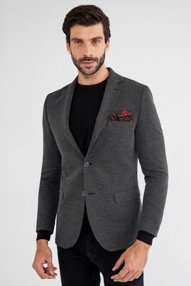 Erkek Giyim - Siyah 52 Beden Desenli Ceket