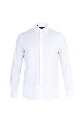 Erkek Giyim - Beyaz M Beden Uzun Kol Manşetli Slim Fit Gömlek