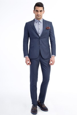 Erkek Giyim - Mavi 56 Beden Kuşgözü Takım Elbise