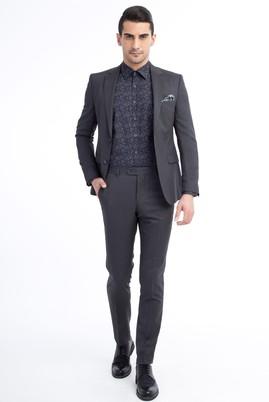 Erkek Giyim - FÜME GRİ 54 Beden Slim Fit Desenli Yünlü Takım Elbise