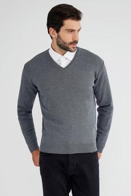 Erkek Giyim - Orta füme XL Beden V Yaka Regular Fit Triko Kazak