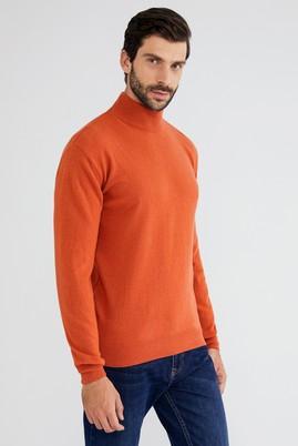 Erkek Giyim - Turuncu L Beden Bato Yaka Yünlü Regular Fit Triko Kazak