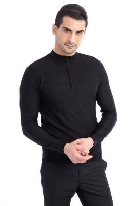 Erkek Giyim - Siyah XXL Beden Bato Yaka Yünlü Fermuarlı Slim Fit Triko Kazak