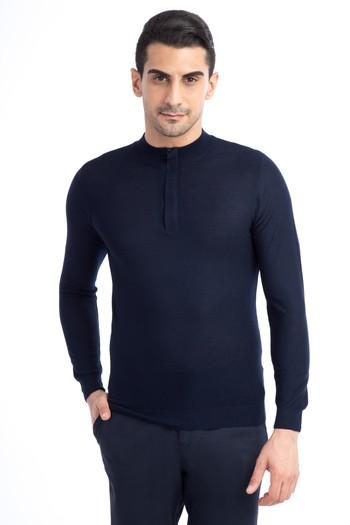 Erkek Giyim - Bato Yaka Yünlü Fermuarlı Slim Fit Triko Kazak