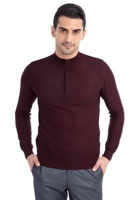 Erkek Giyim - Bordo M Beden Bato Yaka Yünlü Fermuarlı Slim Fit Triko Kazak