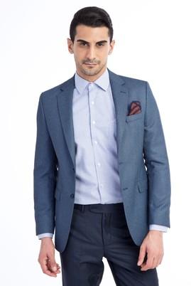 Erkek Giyim - Açık Mavi 56 Beden Slim Fit Kuşgözü Ceket