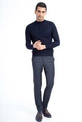 Erkek Giyim - Petrol 48 Beden Slim Fit Desenli Klasik Pantolon