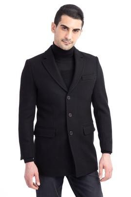 Erkek Giyim - Siyah 62 Beden Kaşe Yün Palto