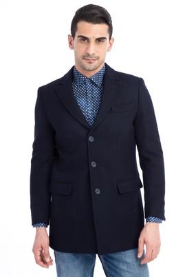 Erkek Giyim - Lacivert 58 Beden Kaşe Yün Palto