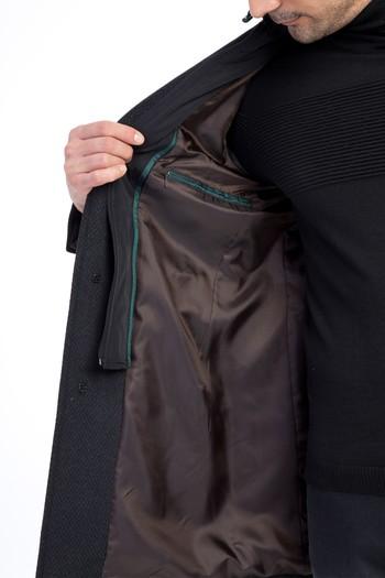 Erkek Giyim - Kapüşonlu Ekose Yün Kaşe Kaban