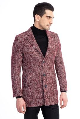 Erkek Giyim - Kırmızı 48 Beden Desenli Palto