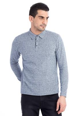 Erkek Giyim - Orta füme XL Beden Polo Yaka Slim Fit Sweatshirt