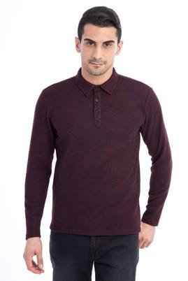 Erkek Giyim - Bordo S Beden Polo Yaka Slim Fit Sweatshirt
