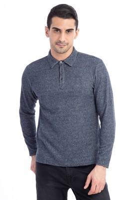 Erkek Giyim - Lacivert M Beden Polo Yaka Slim Fit Sweatshirt