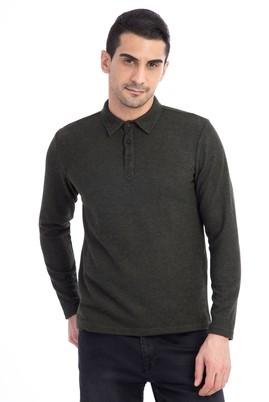 Erkek Giyim - KOYU YESİL L Beden Polo Yaka Slim Fit Sweatshirt