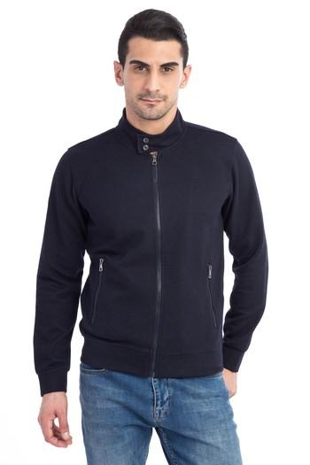 Erkek Giyim - Fermuarlı Slim Fit Sweatshirt